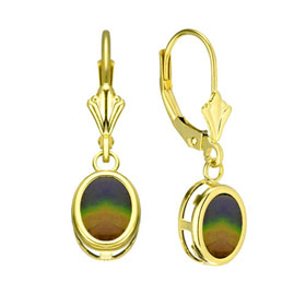14k Gold Ammolite Earrings