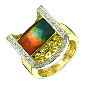 14k Gold Ammolite & Diamond Ring