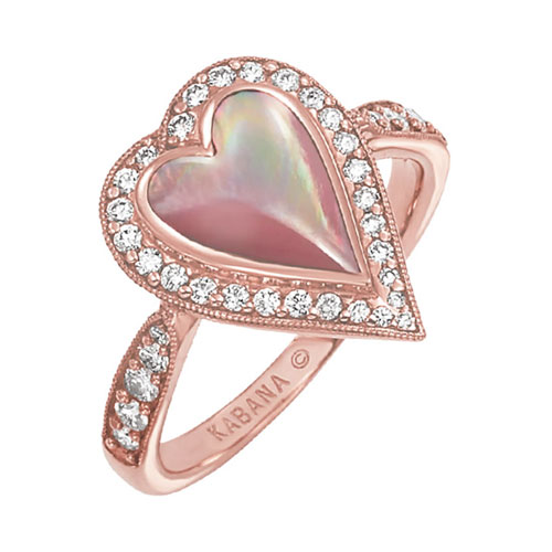 Kabana Mother of Pearl & Diamond Heart Ring